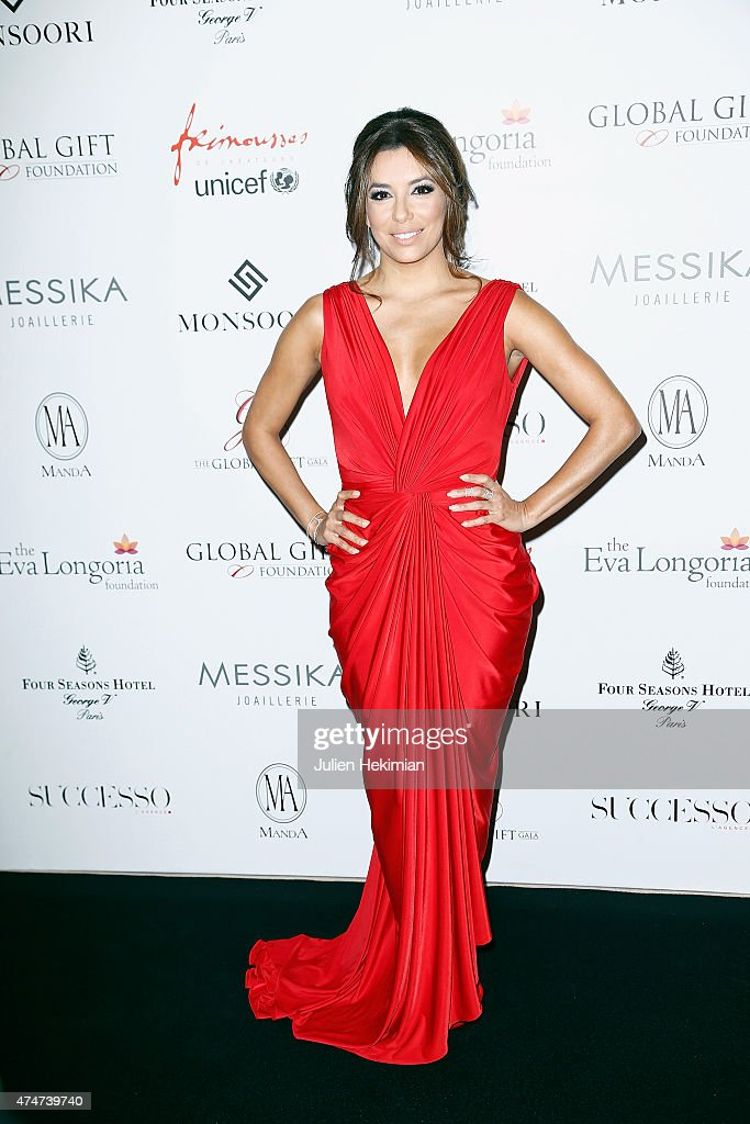 American actress Eva Longoria attends the Global Gift Gala at Four Seasons Hotel George V on May 25, 2015 in Paris, France.