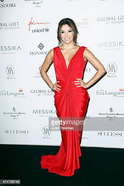 American actress Eva Longoria attends the Global Gift Gala at Four Seasons Hotel George V on May 25 2015 in Paris France