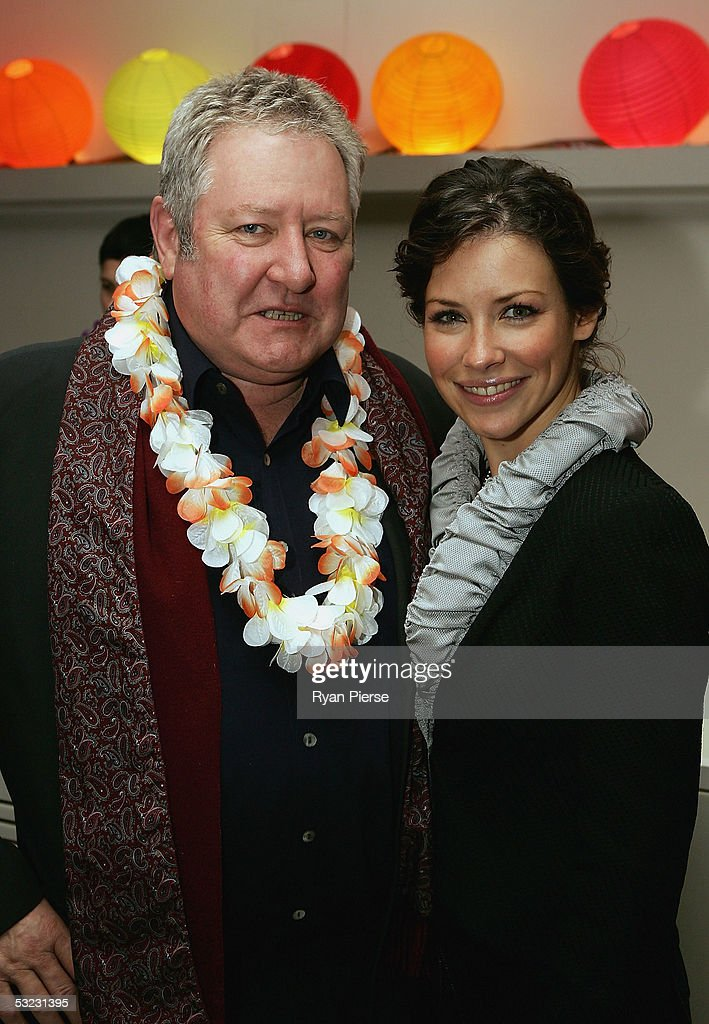 American Actress Evangeline Lilly from the 'Lost' TV show poses with Channel 7 personality John Wood during the 'Lost'' Media Party at The Prince...