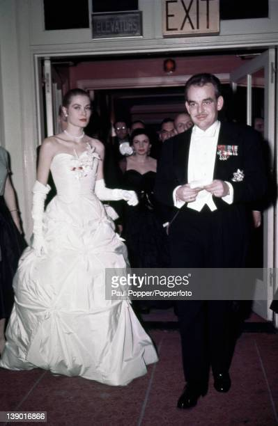American actress Grace Kelly and her fiance Prince Rainier III of Monaco at their engagement party 1956