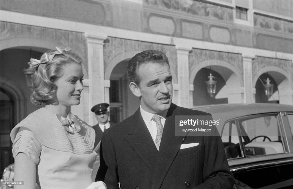 American actress Grace Kelly and Rainier III Prince of Monaco on the day of their civil wedding ceremony at the Prince's Palace of Monaco 18th April...