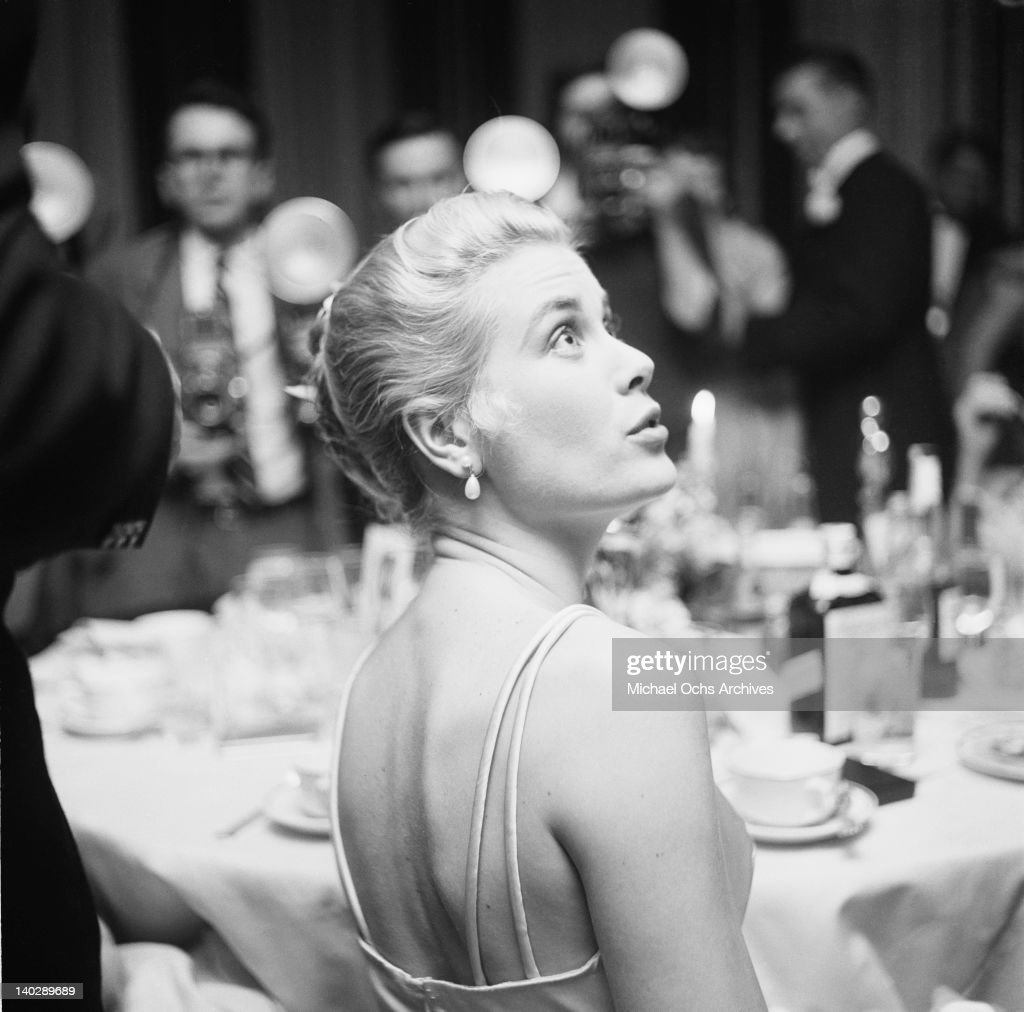 American actress Grace Kelly attends the Academy Awards at the Pantages Theatre in Hollywood California 30th March 1955