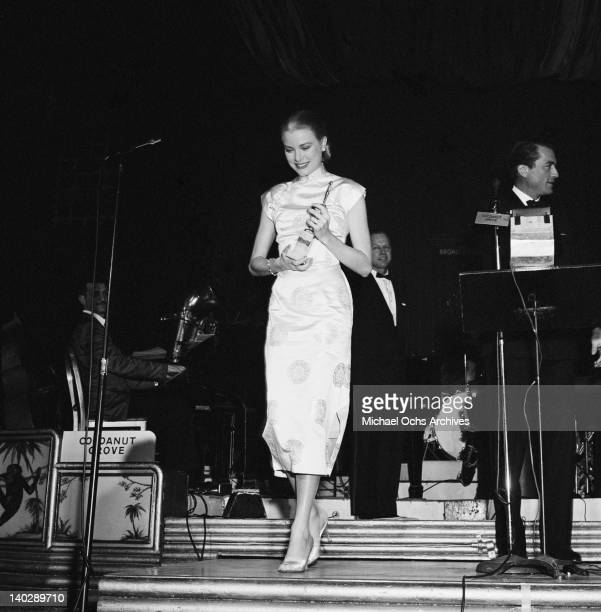 American actress Grace Kelly attends the Foreign Press Awards at the Cocoanut Grove Restaurant in Los Angeles 23rd February 1956 She has just been...
