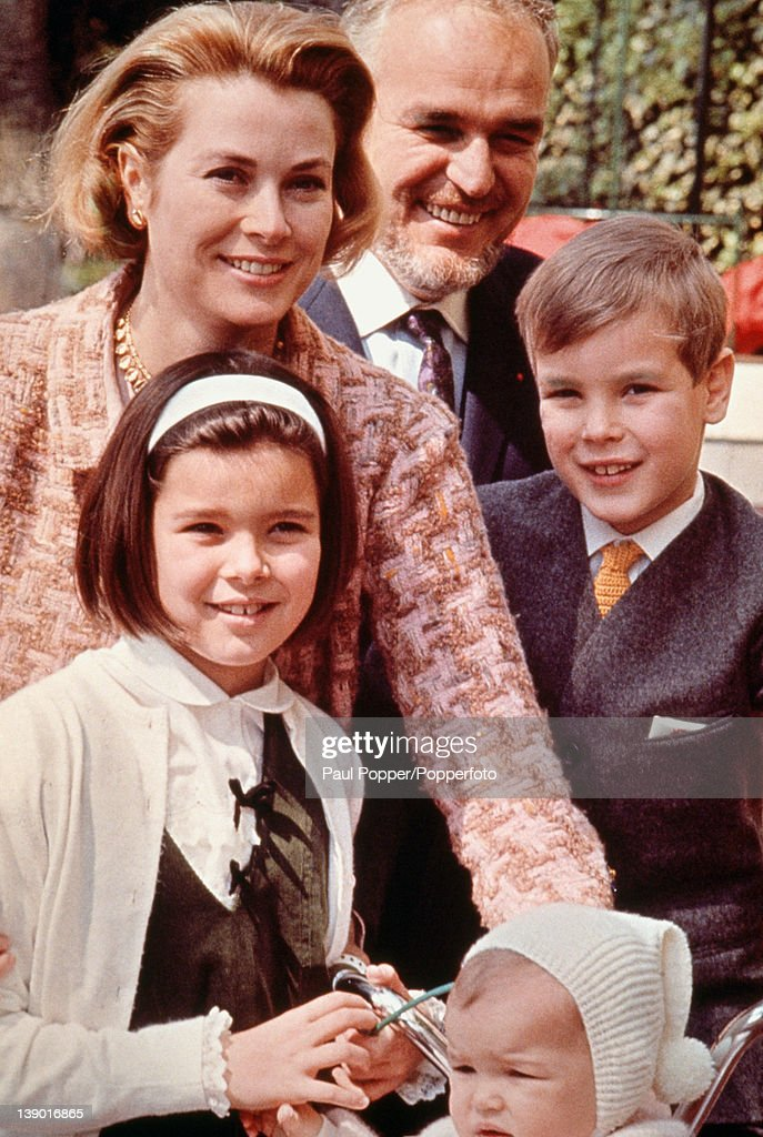 American actress Grace Kelly now Princess Grace of Monaco with her husband Prince Rainier III of Monaco and their children Albert Caroline and...
