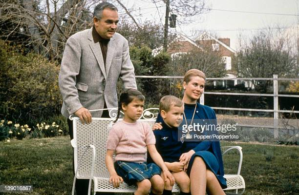 American actress Grace Kelly now Princess Grace of Monaco with her husband Prince Rainier III of Monaco and their children Albert and Caroline circa...