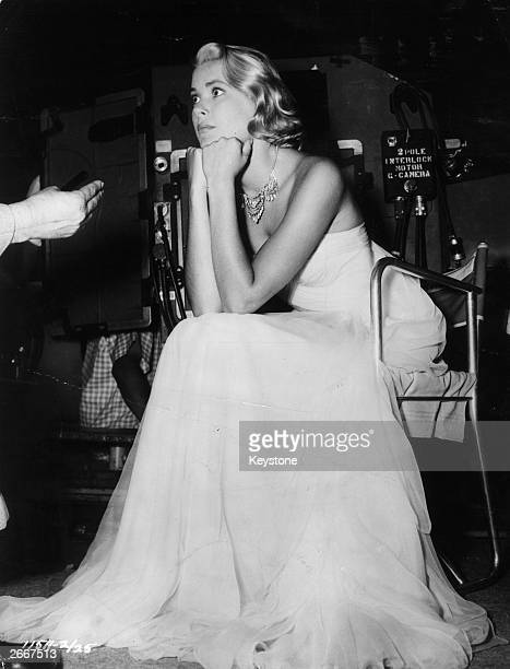 American actress Grace Kelly on the set of 'To Catch A Thief' some of which was filmed on the riviera where she met Prince Rainier of Monaco whom she...