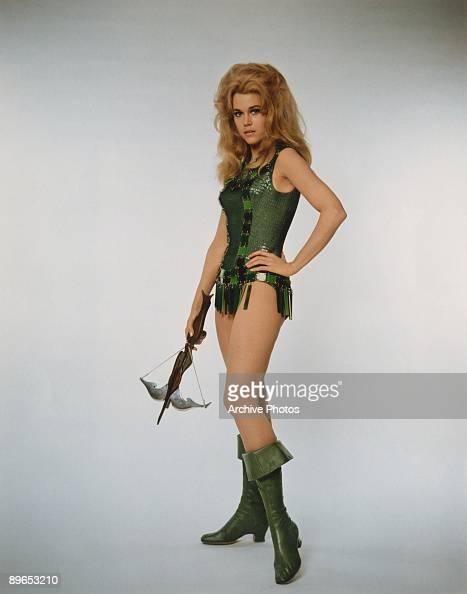 American actress Jane Fonda plays the lead in the erotic science fiction fantasy film 'Barbarella' 1968