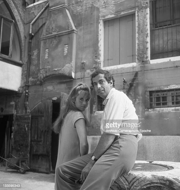 American actress Jane Fonda portrayed with Roger Vadim in the 'Remer' square Venice 1967