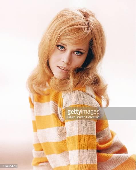 American actress Jane Fonda wearing a yellow and white striped jersey circa 1965