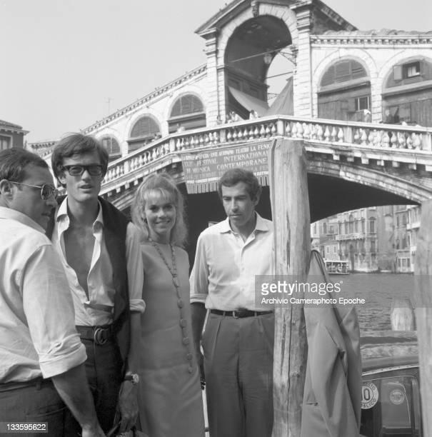 American actress Jane Fonda with her brother Peter Fonda and her husband Roger Vadim portrayed down Rialto bridge Venice 1967