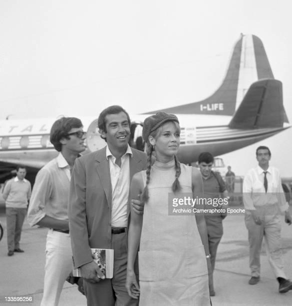 American actress Jane Fonda with Roger Vadim at Lido airport Venice 1967