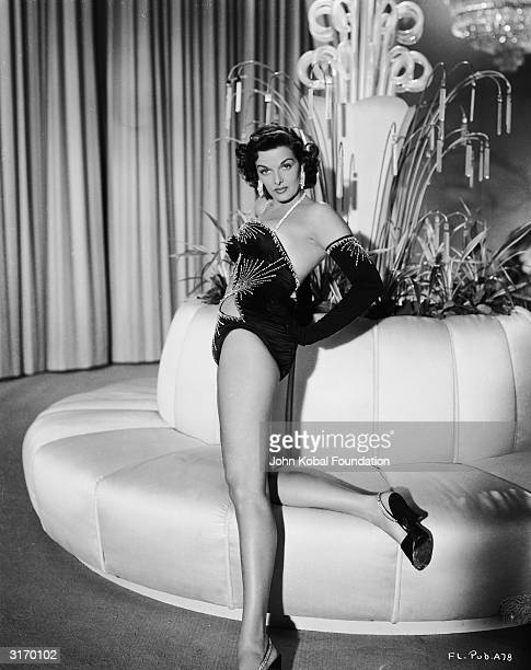 American actress Jane Russell stars as oil heiress Mame Carson in the 3D musical comedy 'The French Line' directed by Lloyd Bacon