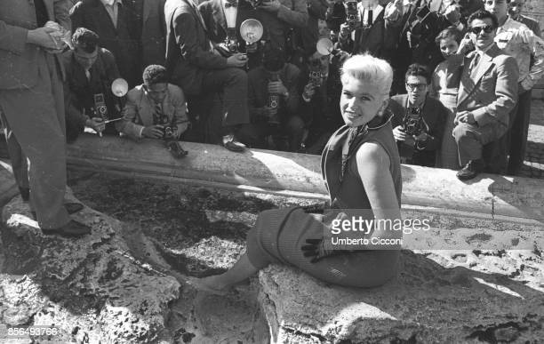 American actress Jayne Mansfield at the Trevi Fountain Rome in 1957