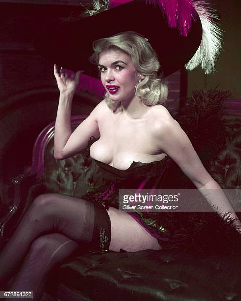 American actress Jayne Mansfield in vintage underwear and Triumph De Luxe stockings circa 1955