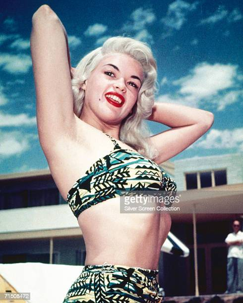 American actress Jayne Mansfield wearing a patterned bikini circa 1955