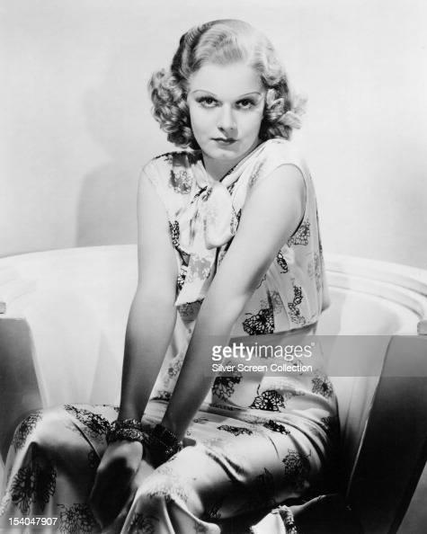 American actress Jean Harlow on a film set circa 1935