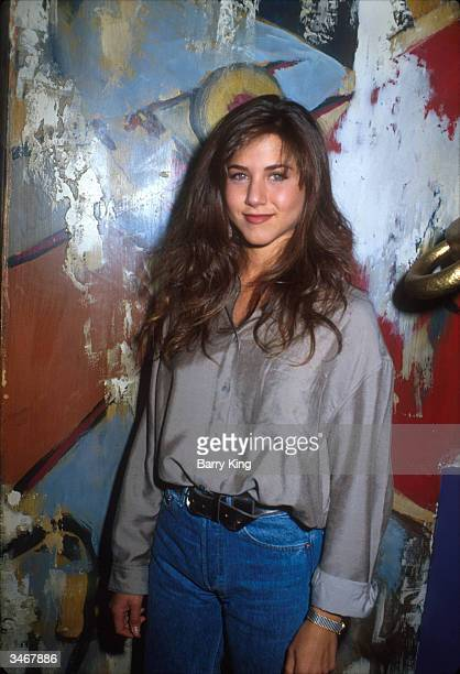 American actress Jennifer Aniston poses for a photo during the NBC stars party 1990
