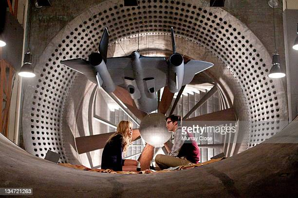 American actress Jennifer Lawrence as Raven aka Mystique and English actor Nicholas Hoult as Hank McCoy aka Beast sharing a picnic an a ventilation...