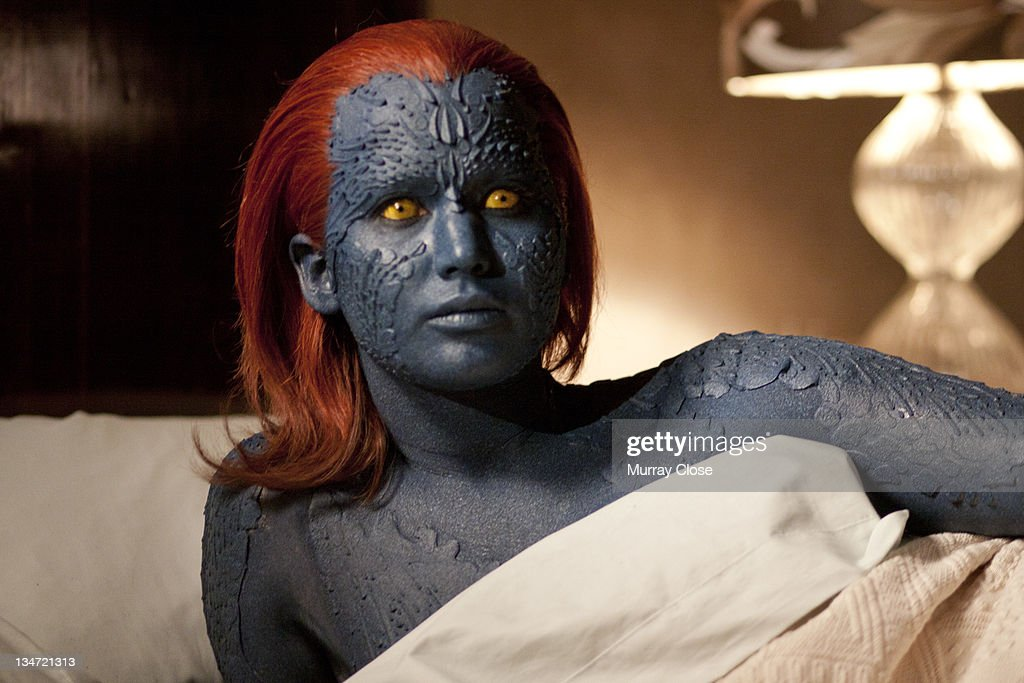American actress <a gi-track='captionPersonalityLinkClicked' href=/galleries/search?phrase=Jennifer+Lawrence&family=editorial&specificpeople=1596040 ng-click='$event.stopPropagation()'>Jennifer Lawrence</a> as Raven, aka Mystique in a scene from the film 'X-Men: First Class', 2011.