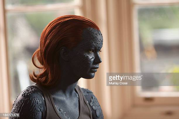 American actress Jennifer Lawrence as Raven aka Mystique in a scene from the film 'XMen First Class' 2011