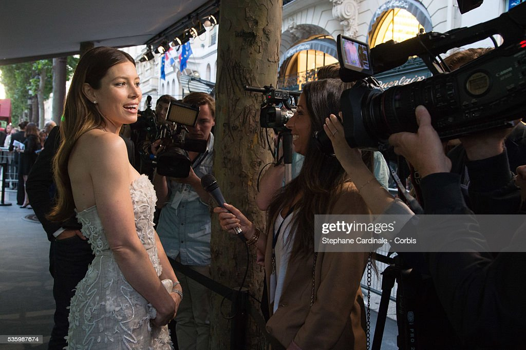 American actress Jessica Biel attends the Tiffany & Co Flagship Opening on the Champs Elysee on June 10, 2014 in Paris, France.