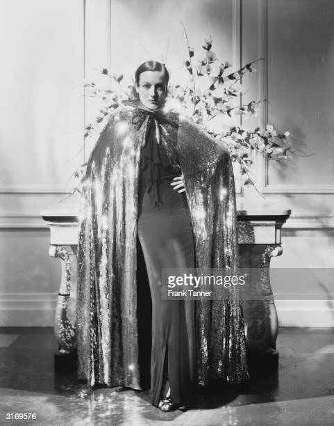 American actress Joan Crawford the stage name of Lucille Fay LeSueur wearing a costume designed for her role in the film 'Sadie McKee' designed by...