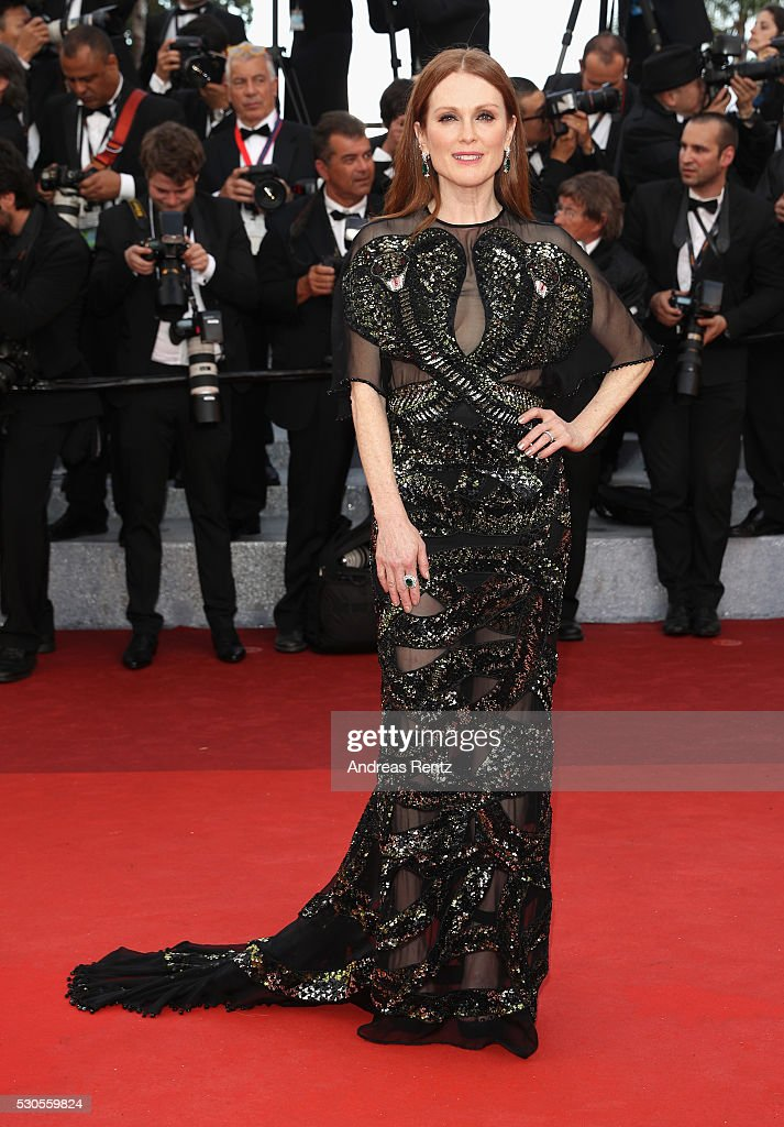 American actress Julianne Moore attends the 'Cafe Society' premiere and the Opening Night Gala during the 69th annual Cannes Film Festival at the Palais des Festivals on May 11, 2016 in Cannes, France.