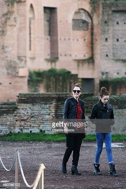 American actress Julianne Moore with her daughter Liv Freundlich are sighted on a Christmas holiday at Fori Imperiali on December 21 2014 in Rome...