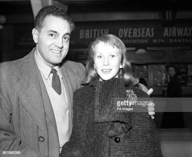 American actress Julie Harris and her husband Max Gurian a Broadway stage manager in London before setting off for a holiday in Bermuda