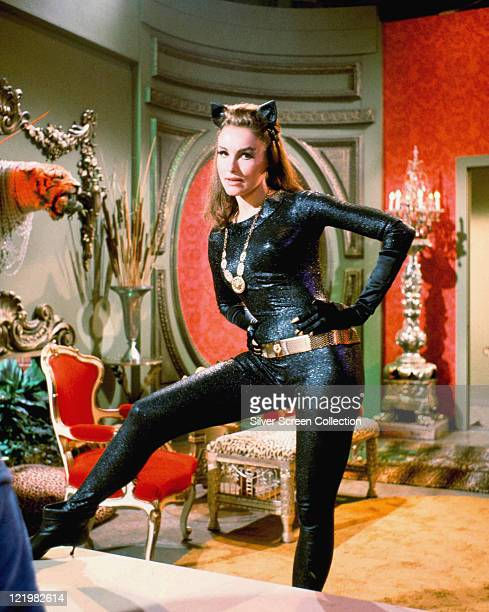 American actress Julie Newmar in costume as Catwoman in a promotional portrait for the television series 'Batman' circa 1966