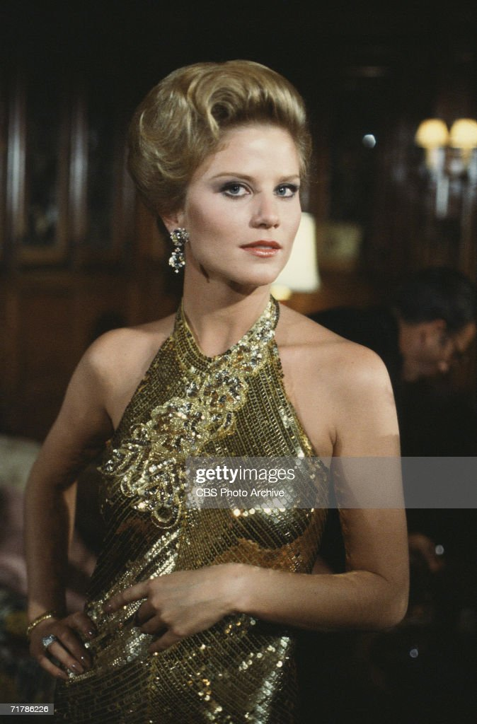 American actress Laura Johnson wears a gold-sequined, halter-top gown in a publicity photo for the prime time soap opera 'Falcon Crest' on which she played Terry Hartford McCarthy Ranson Channing, 1983. Johnson was on the show from 1983 to 1986.