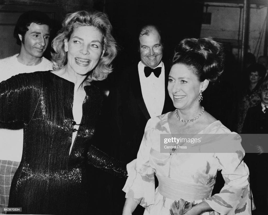 American actress Lauren Bacall (1924 - 2014) with Princess Margaret at the Royal European Preview of the West End stage musical 'Applause' at Her Majesty's Theatre, London, 8th November 1972. Bacall stars in the musical.