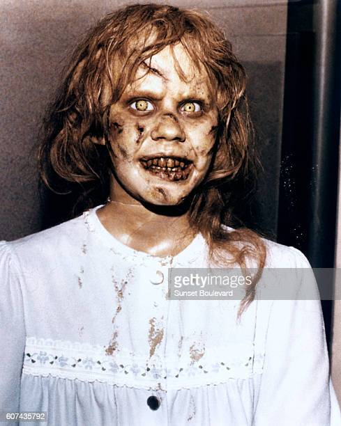 American actress Linda Blair on the set of The Exorcist based on the novel by William Peter Blatty and directed by William Friedkin
