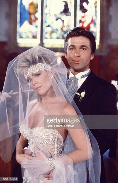 American actress Lisa Hartman and American actor Alec Baldwin pose in wedding outfits in a publicity portrait for the TV soap opera series 'Knots...