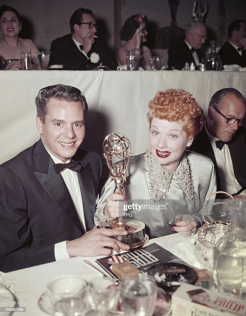 American actress <a gi-track='captionPersonalityLinkClicked' href=/galleries/search?phrase=Lucille+Ball&family=editorial&specificpeople=70020 ng-click='$event.stopPropagation()'>Lucille Ball</a> (1911 - 1989) and her husband Desi Arnaz (1917 - 1986) with their Academy of Television Arts & Sciences (ATAS) trophies at the Emmy Awards, USA, 5th February 1953. Ball had won Best Comedienne for her role in the series 'I Love Lucy' and the series itself had won Best Situation Comedy.