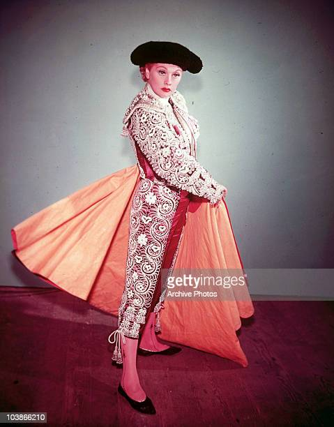 American actress Lucille Ball dressed as a toreador for the 'I Love Lucy' episode 'Bull Fight Dance' which aired on 28th March 1955