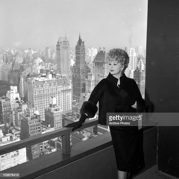 American actress Lucille Ball in her apartment at the New York Hilton hotel Manhattan circa 1965