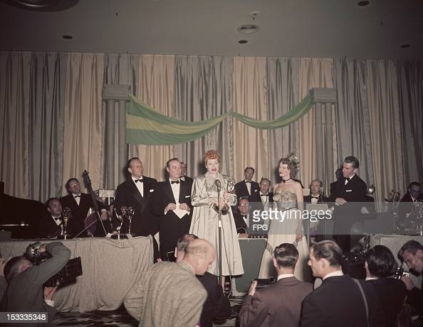 American actress Lucille Ball wins the award for Best Comedienne at the Emmy Awards held at the Hotel Statler in Los Angeles 5th February 1953 Her...