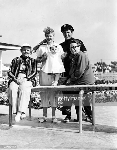 American actress Lucille Ball with her husband Desi Arnaz and their daughter Lucie circa 1952 On the left is Desi Sr's mother Dolores Lolita and on...