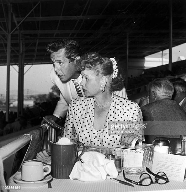American actress Lucille Ball with her husband Desi Arnaz at the Del Mar Racetrack in California circa 1950
