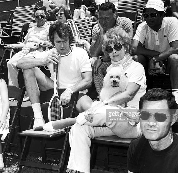American actress Lucille Ball with her husband Gary Morton and actor Clint Eastwood during a La Costa tennis tournament at the Carlsbad Resort in San...