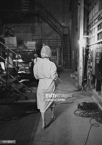 American actress Marilyn Monroe leaves the set during the filming of 'Something's Got to Give' Los Angeles California mid 1962