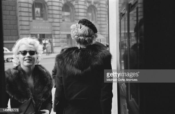 American actress Marilyn Monroe outside the Elizabeth Arden salon in New York City March 1955