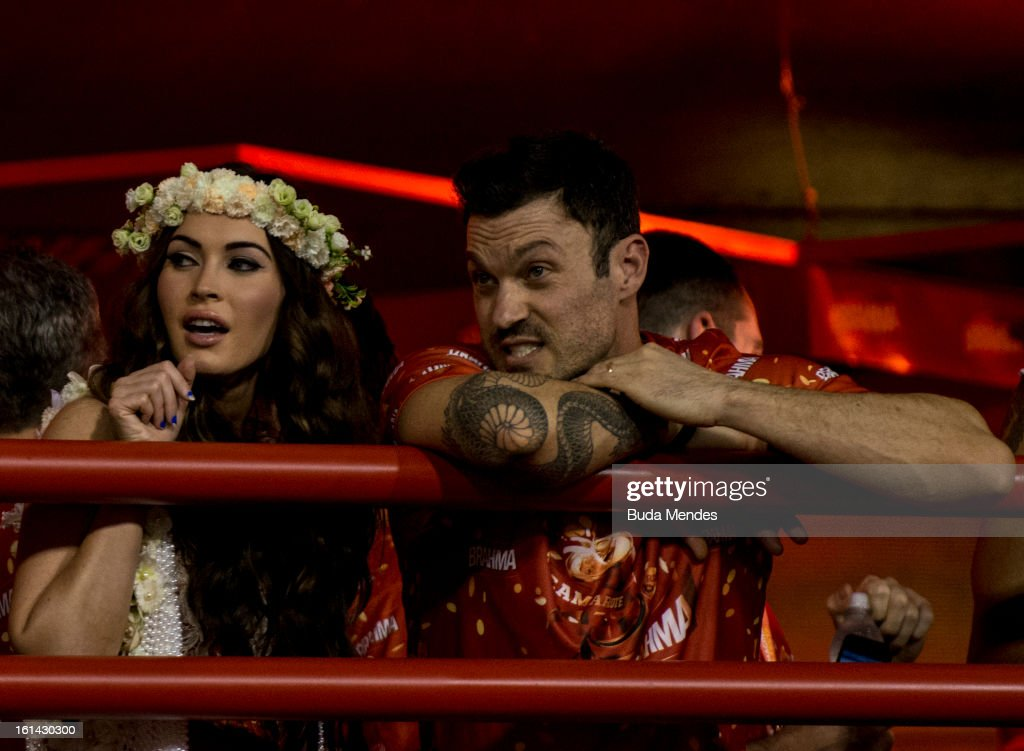 American actress Megan Fox and his husband Bryan Austin Green enjoy Salgueiro samba school parade as part of the 2013 Brazilian Carnival at Sapucaí Smbodrome on February 10; 2013 in Rio de Janeiro; Brazil. Rio's two nights of Carnival parades began on February 10 in a burst of fireworks and to the cheers of thousands of turists and locals who have previously enjoyed Street celebrations (known as Blocos de rua) all around the city.