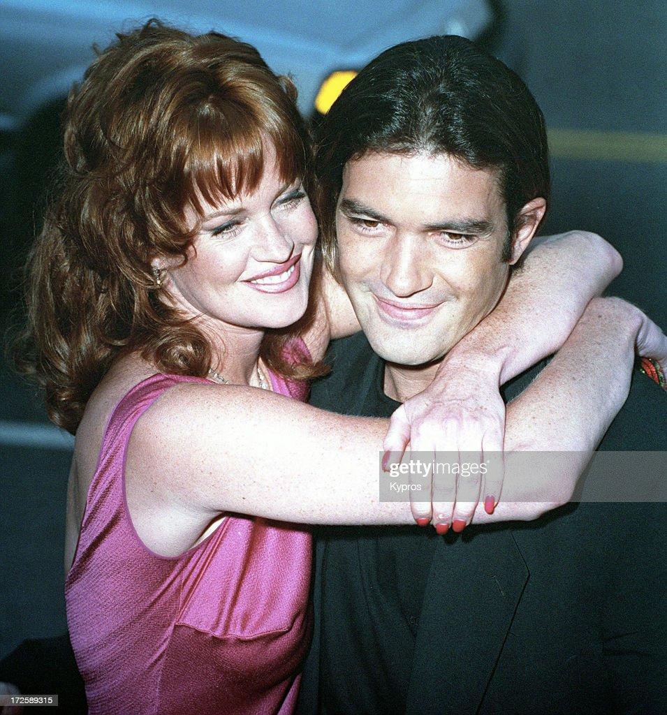 American actress Melanie Griffith with her partner actor Antonio Banderas at the Los Angeles premiere of 'Desperado' 21st August 1995