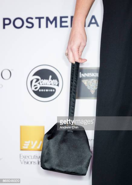 American actress Melissa Peterman hand bag detail arrives for the David Foster Foundation Gala at Rogers Arena on October 21 2017 in Vancouver Canada