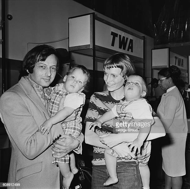 American actress Mia Farrow and her husband conductor and composer André Previn with their twin sons Matthew and Sascha at London Airport UK 24th...