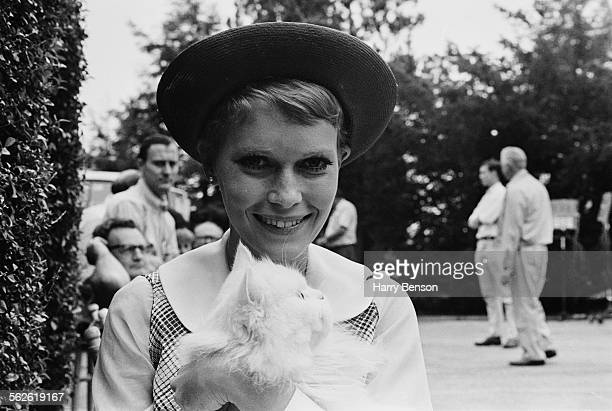American actress Mia Farrow on the set of Roman Polanski's 'Rosemary's Baby' 1967