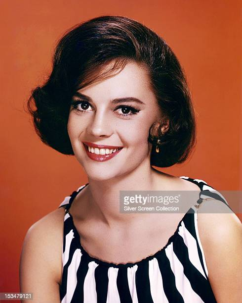 American actress Natalie Wood in a striped dress circa 1960