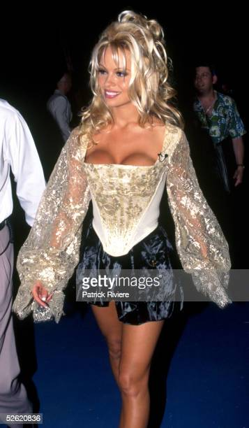American actress Pamela Anderson arrives at the Australian Music Awards party December 1994 in Sydney Australia